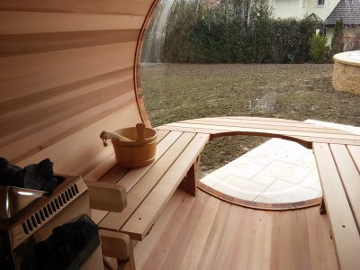 Inside of scenic view sauna with its special bench